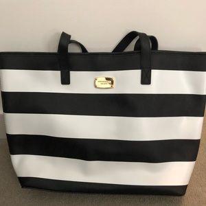 Michael Kors Black & White Striped Tote